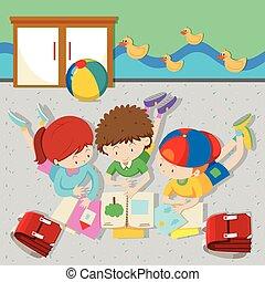 aula, Libros, lectura, niños