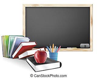 aula, libros, plumas, manzana, pizarra