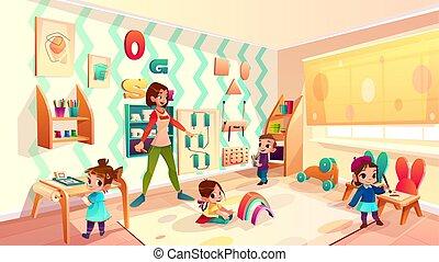 aula, montessori, bambini scuola, vettore, cartone animato