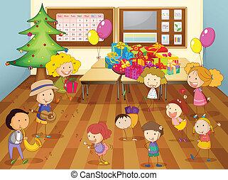 aula, niños, bailando