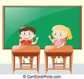 aula, niños, pregunta, dos, preguntar