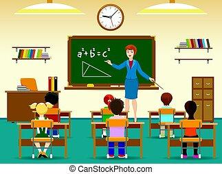 aula, niños, sentado