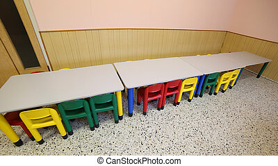 aula, pequeño, guardería infantil, bancos, refectorio