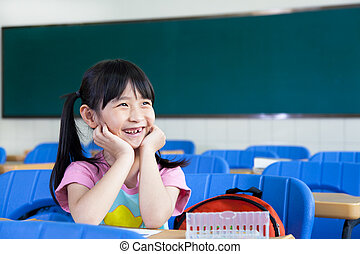 aula, piccola ragazza, felice