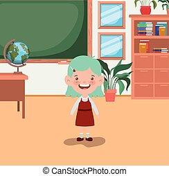 aula, piccola ragazza, studente