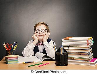 aula, ragazzo, scuola, bambino, occhiali, pensare, capretto