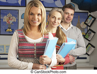 aula, retrato, grupo, profesores