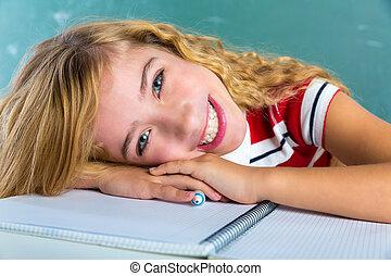 aula, scolara, espressione, studente, felice