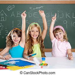 aula, scuola, intelligente, gruppo, bambini, studente