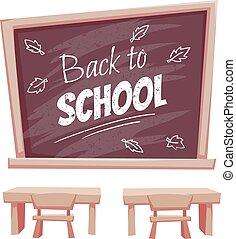 aula, scuola, poster., indietro, illustrazione, scrivania