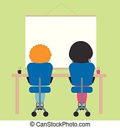 aula, scuola, seduta, parete, testo, whiteboard, spazio, due, verde, schoolchildren, sedia