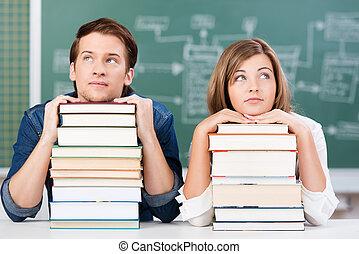 aula, studenti, futuro, due, sognare