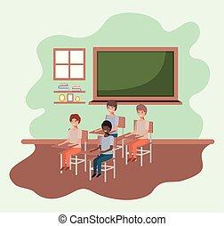 aula, studenti, gruppo, giovane