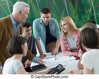 aula, studenti, gruppo, insegnante