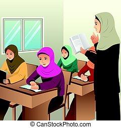 aula, studenti, musulmano, insegnante, lei