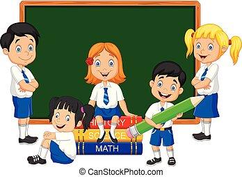 aula, studiare, bambini scuola, cartone animato