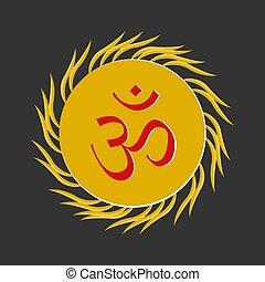 Aum , a Hindu religious symbol symbolizing the sound of the universe