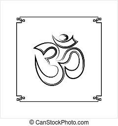 aum, konstruktion, motif, (om), hellige