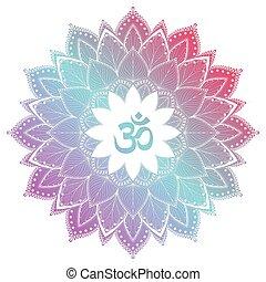 Aum Om Ohm symbol in decorative round mandala ornament.