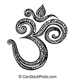 Om symbol Aum, ohm. Hand drawn detailed vector illustration.
