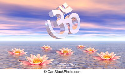 Aum - om upon lotus - Metallic aum - om upon quiet ocean and...