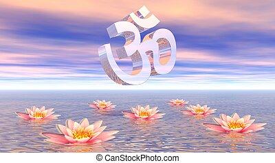 Aum - om upon lotus - Metallic aum - om upon quiet ocean and...