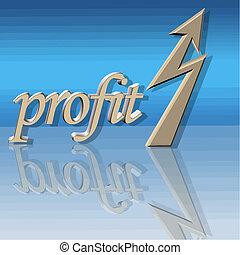 aumentado, lucro, vetorial