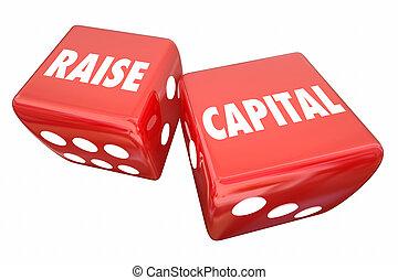 aumento, affari, prestito, illustrazione, dado, caso, prendere, capitale, investimento, 3d