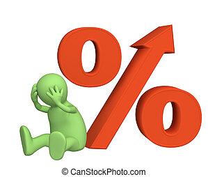 aumento, de, a, índice interesse, sob, créditos