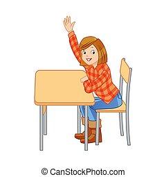 aumento, estudiante, manos, su