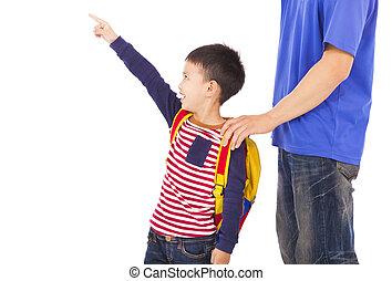 aumento, mão, ponto, pai, feliz, menino