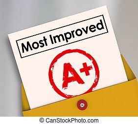 aumento, mejorado, grado, resultados, mejor, más, raya, cartilla escolar