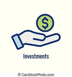aumento, o, actividades bancarias de la inversión, cantidad, icono, exposiciones