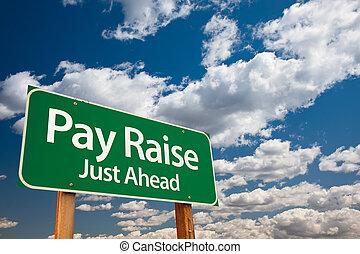 aumento paga, verde, segno strada