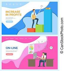 aumento, progresso, lucros, negócio, online