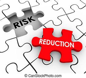aumento, reducción, pedazos, riesgo, rompecabezas, peligroso, comportamiento, mitigate, seguridad
