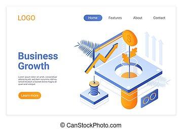 aumento, strategy., site web, página, crescendo, aterragem, tubo, isometric, negócio, dinheiro, desenvolvimento, árvore, laboratório, companhia, metaphor., estabilidade, soluções, renda, financeiro, layout., template., desenho, crescimento