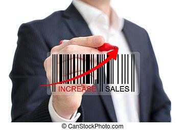aumento, vendas