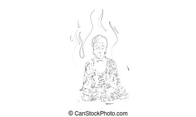 aura, bouddha, animation, méditation, vidéo