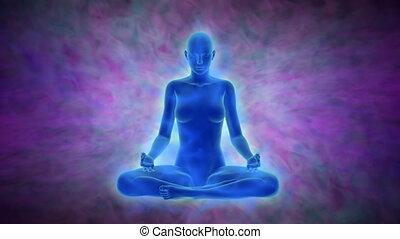 Aura, chakra activation, enlightenment of mind in meditation