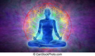 Aura, chakra activation, enlightenment of mind in meditation, symbol flower of life