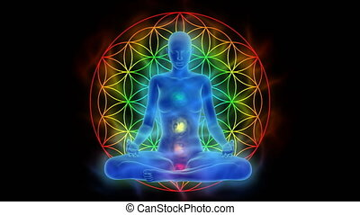 Aura, chakra activation, enlightenment of mind in meditation, symbol flower of life