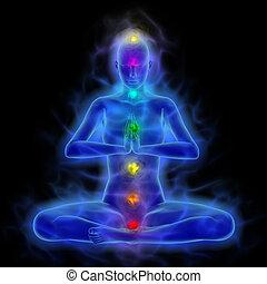 aura, cuerpo, -, meditación, curación, energía