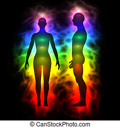 Aura, healing energy, extrasensory perception - woman and ...