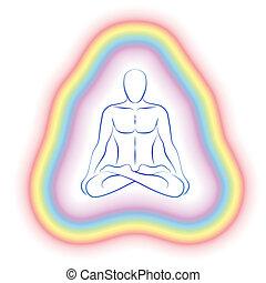 aura, meditação, sutil, corporal, homem