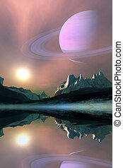 Aura - The planet Saturn lights up the sky of one of its...