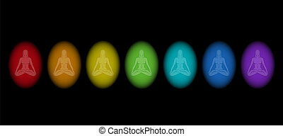 Different aura colors of a meditating woman in yoga position. Isolated vector illustration on black background.
