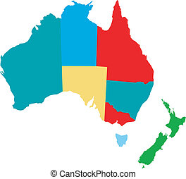 vector map of australia with counties and new zeeland