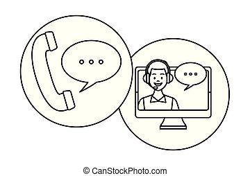 auricular and computer assistance with speech bubble round ...