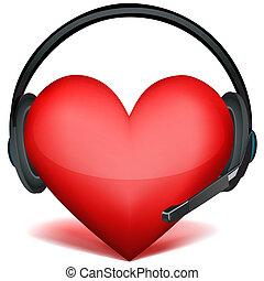 auricular, con, corazón